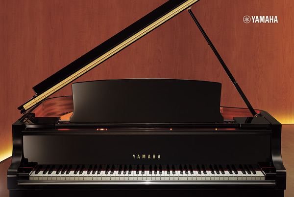 Yamaha CX grand piano, front view